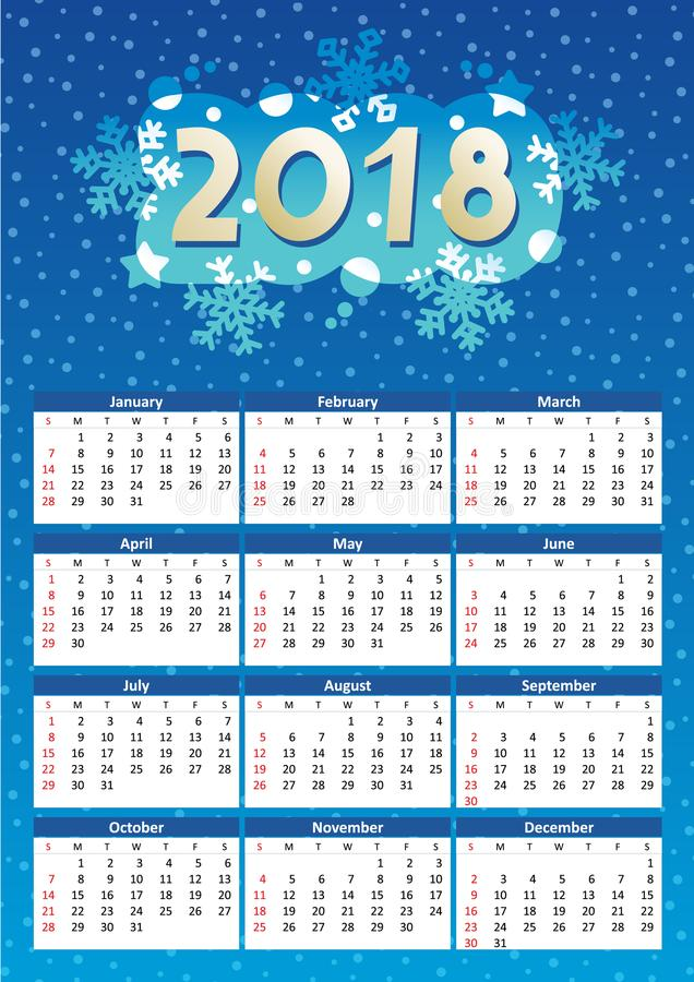 2018 year calendar, winter night blue colors. 2018 full year calendar, for A4, Letter or A3 paper size, of winter night blue colors, English language, week vector illustration
