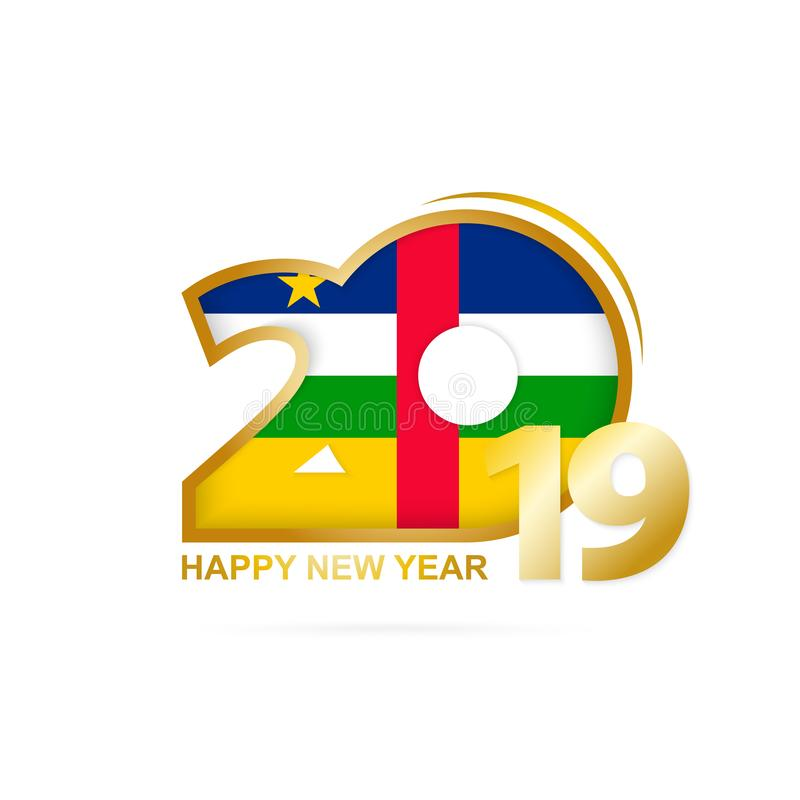 Year 2019 with CAR Flag pattern. Happy New Year Design. Vector Illustration stock illustration