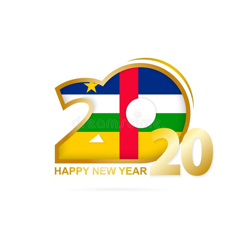 Year 2020 with CAR Flag pattern. Happy New Year Design. Vector Illustration vector illustration