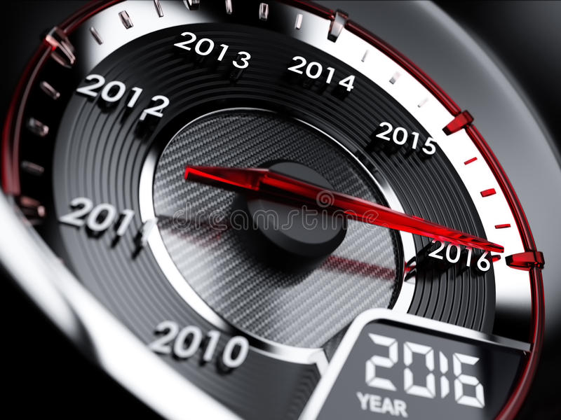 2016 year car speedometer. 3d illustration of 2016 year car speedometer. Countdown concept