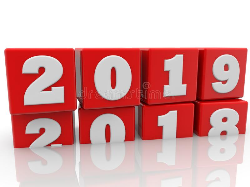 Year change concept on red cubes. In backgrounds royalty free illustration