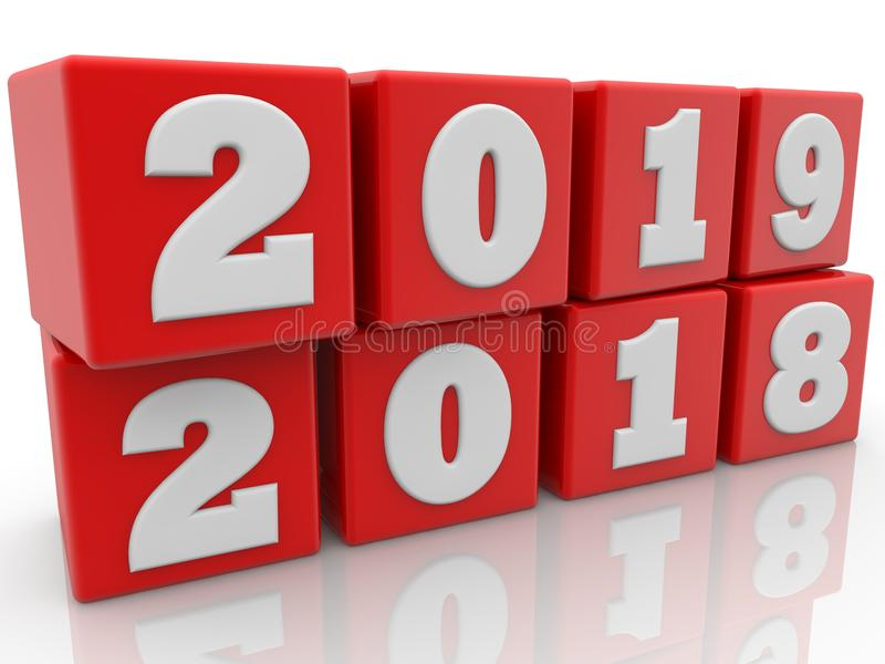 Year changing concept on red cubes. In backgrounds vector illustration
