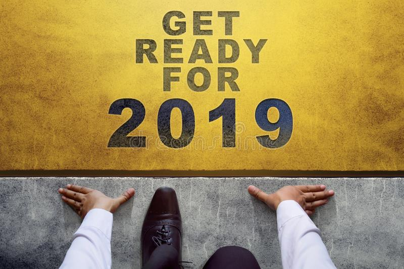 2019 Year Concept. Top view of Businessman on Start line, Ready stock image