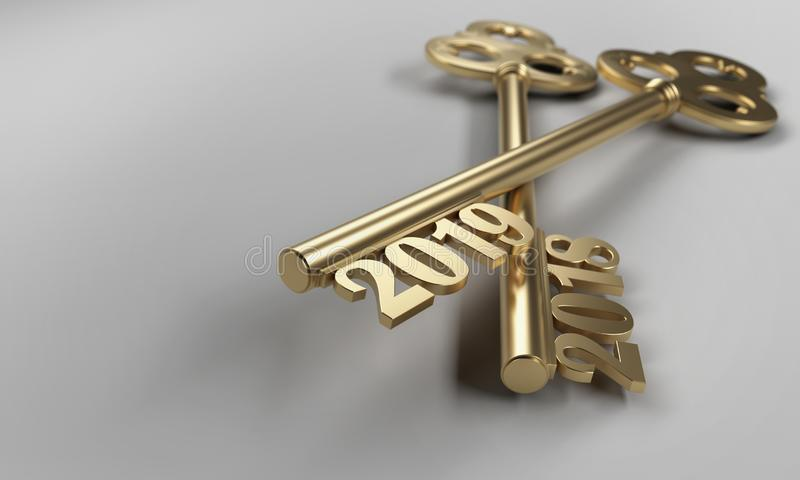 New Year 2019 Creative Design Concept - 3D Rendered Image. Year 2019 Creative Design Concept with Keys - 3D Rendered Image vector illustration
