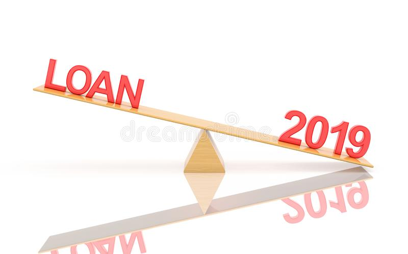 New Year 2019 Creative Design Concept - 3D Rendered Image. Year 2019 Creative Design Concept with Loan Symbol - 3D Rendered Image vector illustration