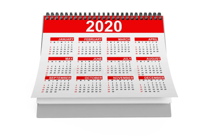 2020 Year Desktop Calendar. 3d Rendering. 2020 Year Desktop Calendar on a white background. 3d Rendering vector illustration