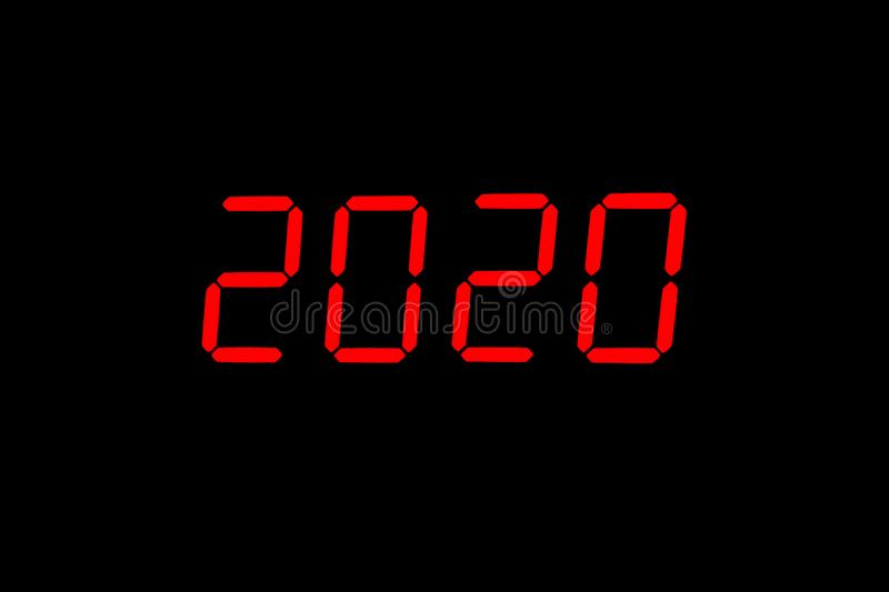 The year 2020. The dial of the electronic clock which shows the year 2020 stock image