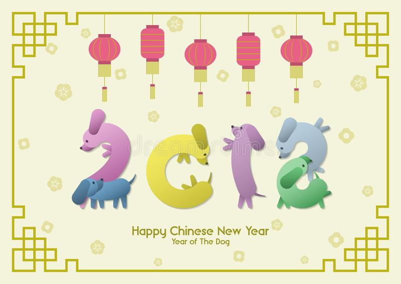 Year of the dog 2018 figures. Happy Chinese New Year, Year of the Dog, colorful funny sausage Dachshund dogs group pose like number 2018 with hanging red royalty free illustration