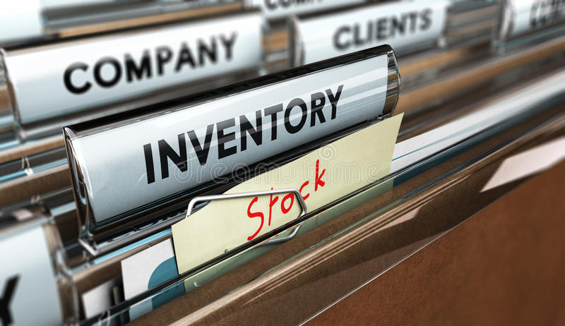 Year End or Periodic Inventory. Close up on a file tab with the word inventory and a note fixed with a paperclip where it is handwritten stock, focus on the main vector illustration