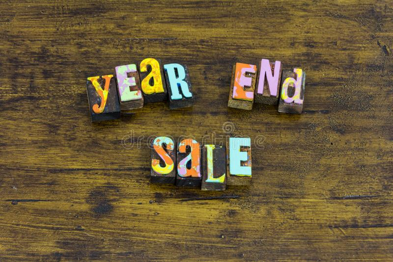 Year end sale retail internet store business commercial. New year end sale retail internet store business commercial typography sign customer discount marketing royalty free stock images