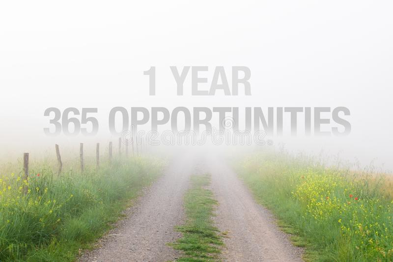 1 year equals 365 opportunities, inspirational quote for new years resolutions royalty free stock photography