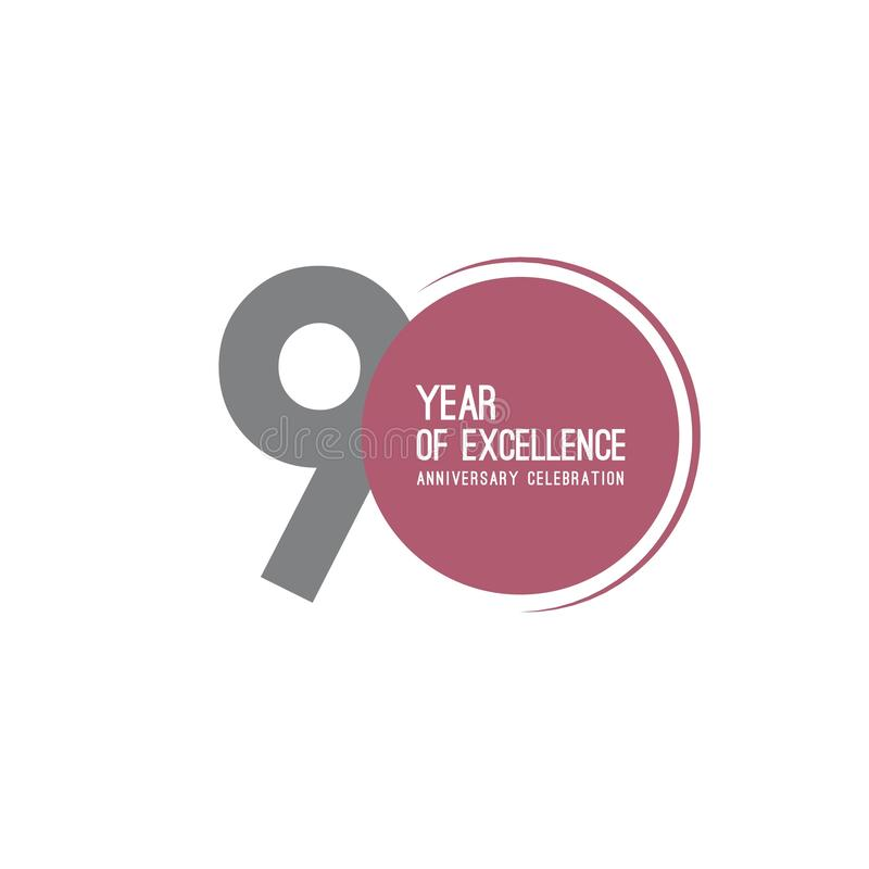 90 Year of Excellence Anniversary Celebration Vector Template Design Illustration royalty free illustration