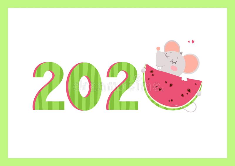 2020 year flat vector banner with mouse template. stock illustration