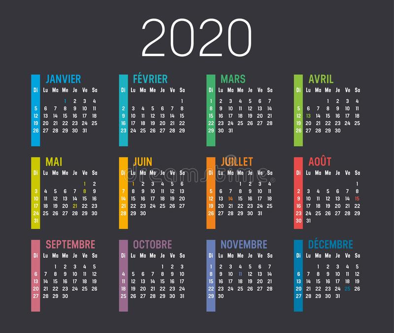 Year 2020 French calendar stock photos