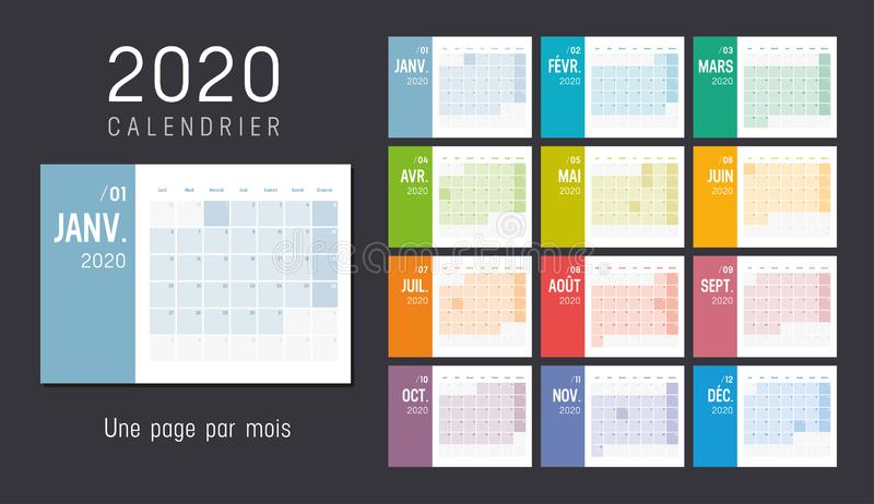 Year 2020 French monthly calendar. Year 2020 colorful monthly calendar, in French language, on black background. Vector template royalty free illustration