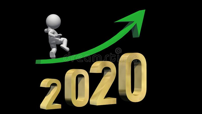 Year 2020 in golden digits under a green ascending arrow with 3D people on black background stock illustration