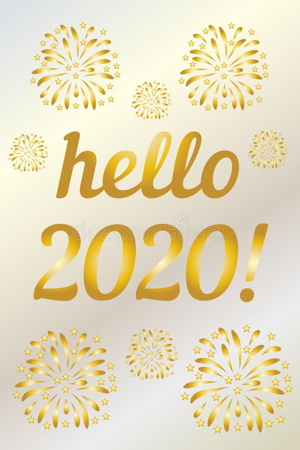 2020 year golden hello vertical on white background. Vector card design. Winter xmas snow background. Happy chinese new year. royalty free illustration