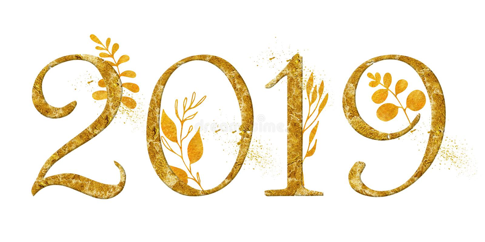 Year 2019 golden number design with gold floral decor watercolor new year sign royalty free stock photos