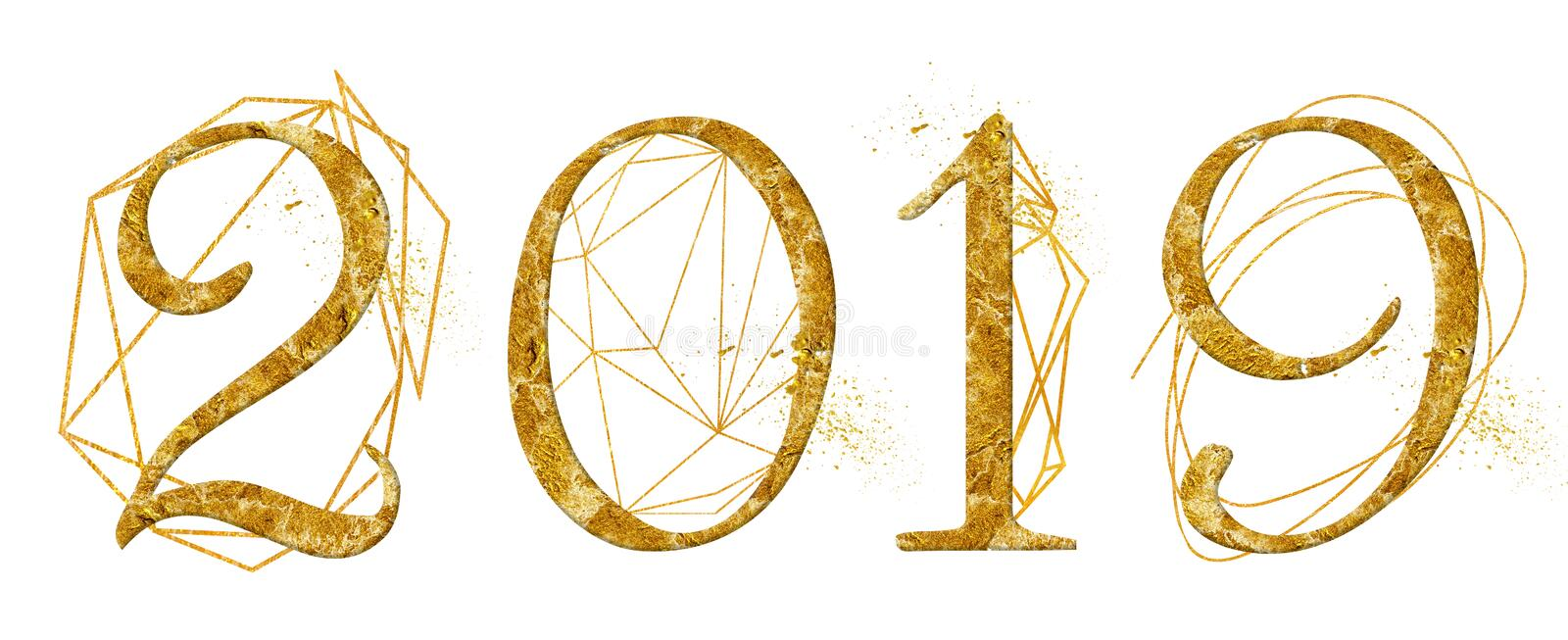 Year 2019 golden number design with gold geometric shape crystal watercolor new year sign stock image