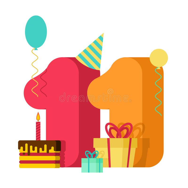 11 year greeting card Birthday. 11th anniversary celebration Template. eleven number and festive piece of cake with candle. stock illustration