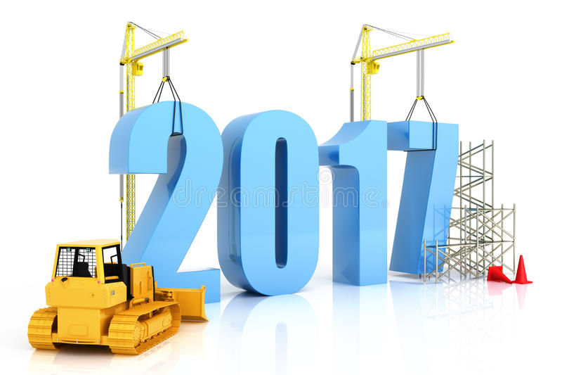 Year 2017 growth. Building, improvement in business or in general concept in the year 2017, on a white background . 3d rendering vector illustration
