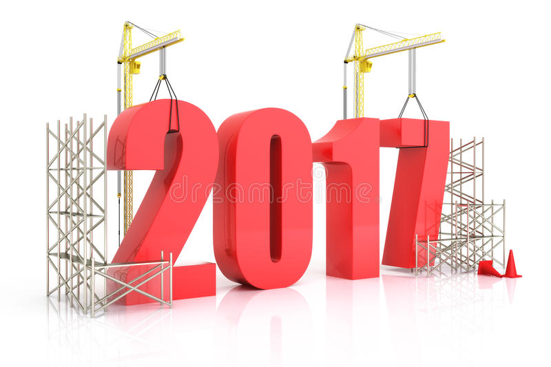 Year 2017 growth. Building, improvement in business or in general concept in the year 2017, on a white background . 3d rendering royalty free illustration
