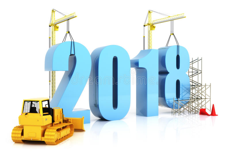 Year 2018 growth, building, improvement in business or in general concept in the year 2018. 3d rendering on a white background royalty free illustration