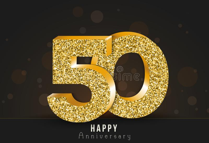 50 - year happy anniversary banner. 50th anniversary gold logo on dark background. Vector illustration royalty free illustration