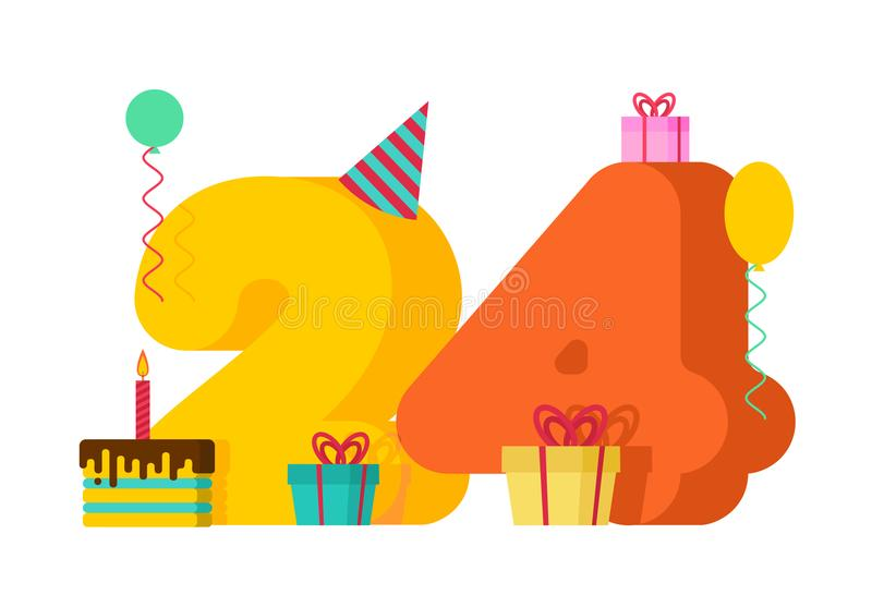 24 year Happy Birthday greeting card. 24th anniversary celebration Template. twenty four number and festive piece of cake with ca royalty free illustration