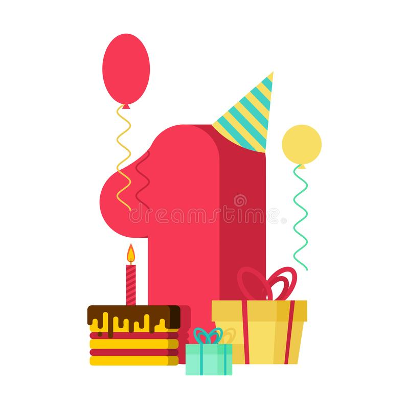 1 year Happy Birthday greeting card. 1th anniversary celebration vector illustration