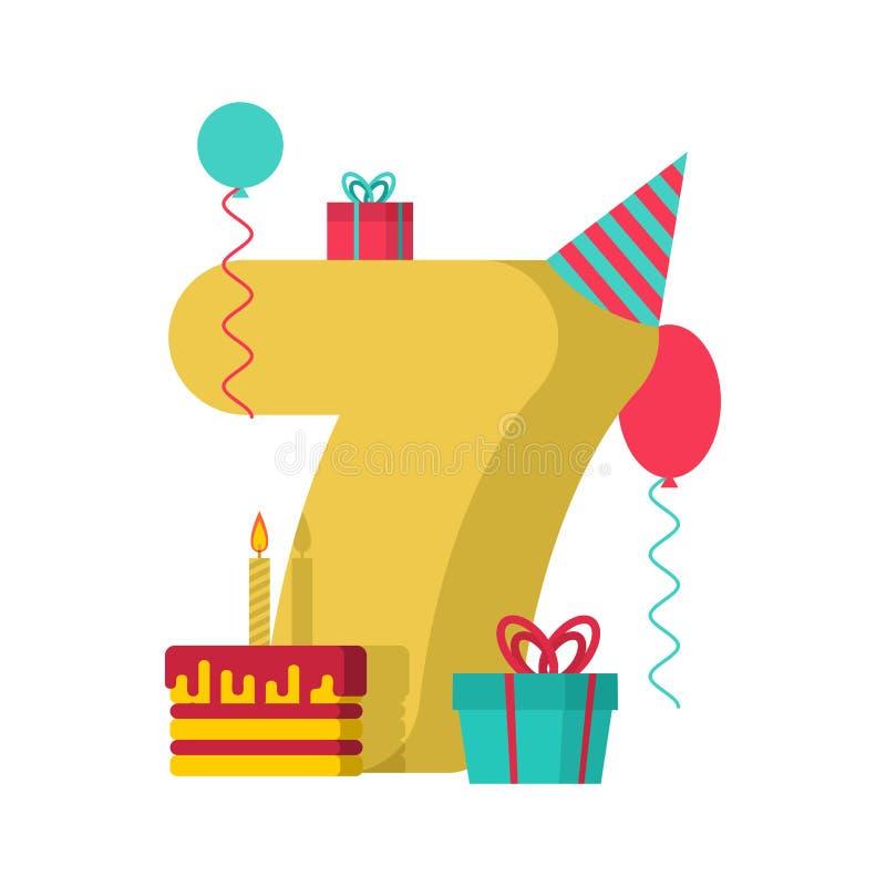 1 year Happy Birthday greeting card. 1th anniversary celebration vector illustration