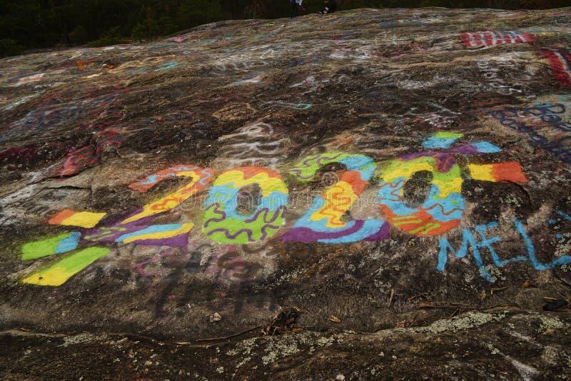 Colorful `2020` Graffiti stock photography