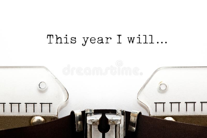 This Year I Will Typewriter Concept royalty free stock images
