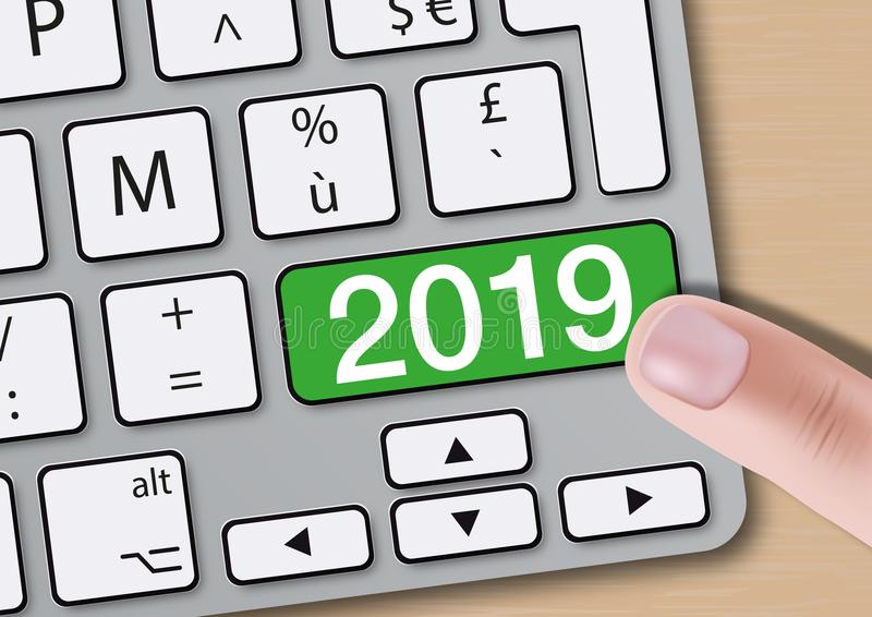 The year 2019 inscribed on a key of a computer keyboard. vector illustration