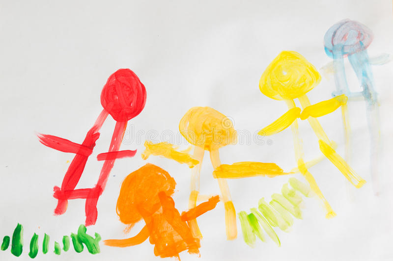 3 year kids drawing happy family picture on the wooden table. To stock illustration