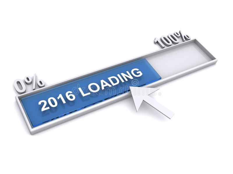 Year 2016 is loading. Illustration of percentage of loading process of the year 2016 from zero to one hundred percent stock photography