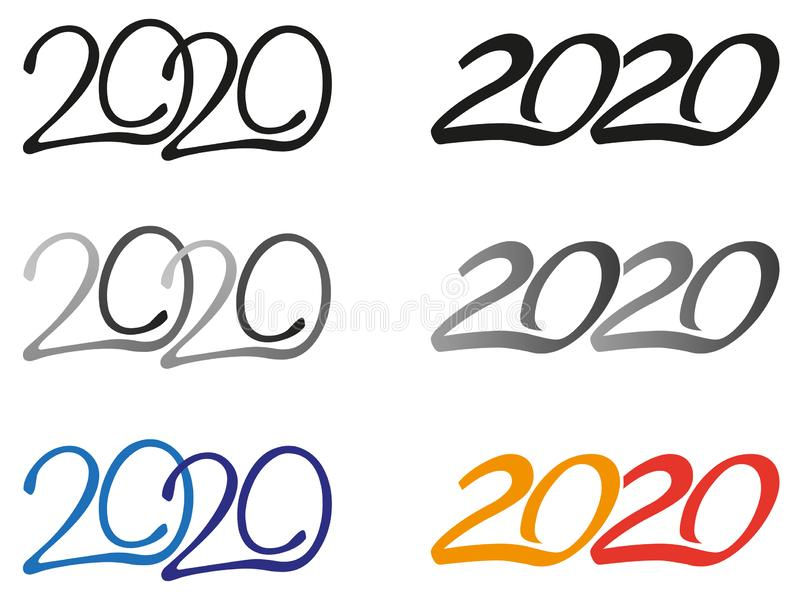 Year 2020 logos. 2020 color and colorless logos stock illustration