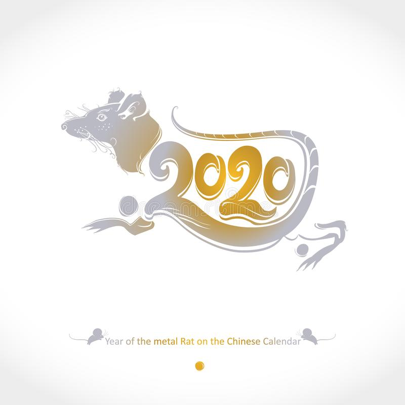 Year of the Metal Rat 2020 on the Chinese Calendar. Drawn rat golden 2020 and tail. stock photo