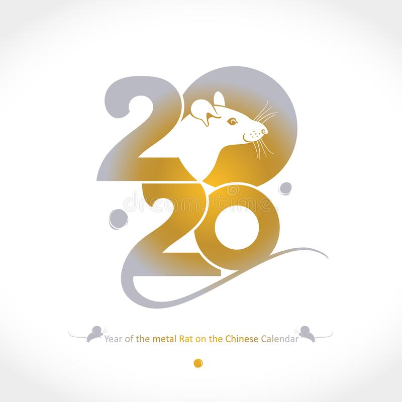 Year of the Metal Rat 2020 on the Chinese Calendar. Drawn rat golden 2020 and tail. royalty free stock photography