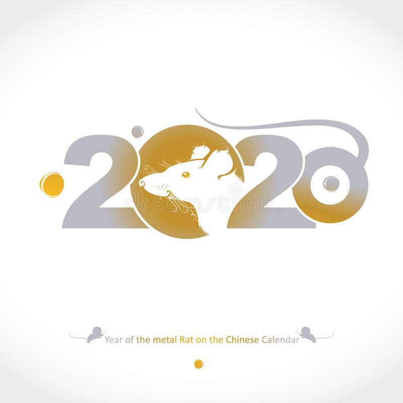 Year of the Metal Rat 2020 on the Chinese Calendar. Drawn rat golden 2020 and tail. royalty free stock photo