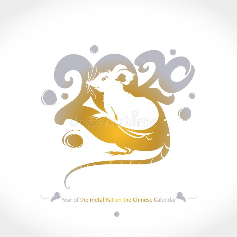 Year of the Metal Rat 2020 on the Chinese Calendar. Drawn rat golden 2020 and tail. stock photography