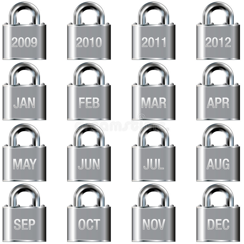 Download Year And Month Calendar Icons On Lock Buttons Stock Vector - Illustration of bolt, internet: 8910088