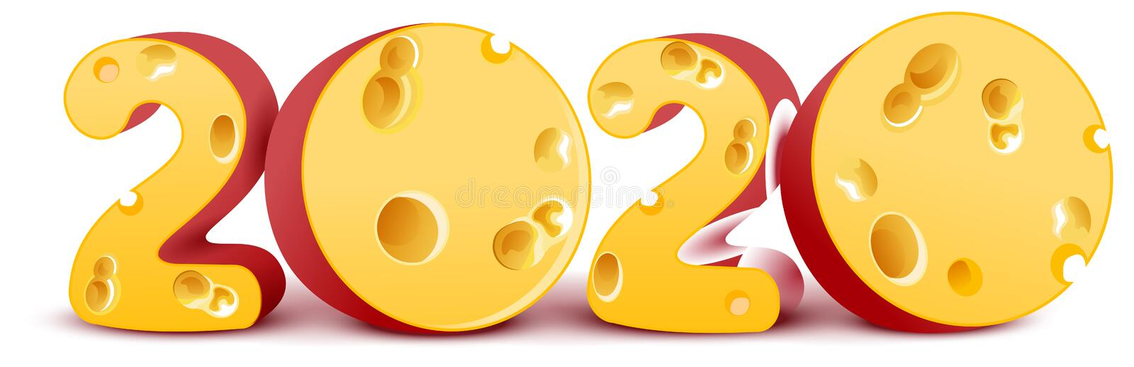 2020 year of mouse on Chinese calendar. Text number from cheese 2020 vector illustration