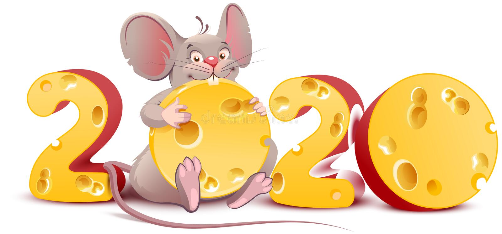 2020 year of mouse. Cute cartoon rat holds cheese stock illustration