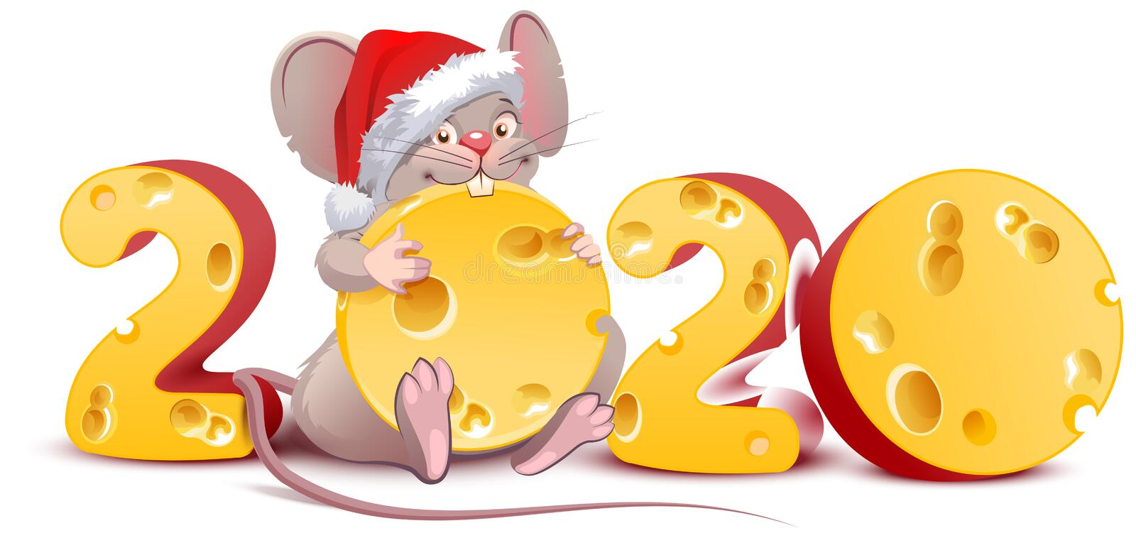 2020 year of mouse to Chinese calendar. Santa mouse holding swiss cheese vector illustration