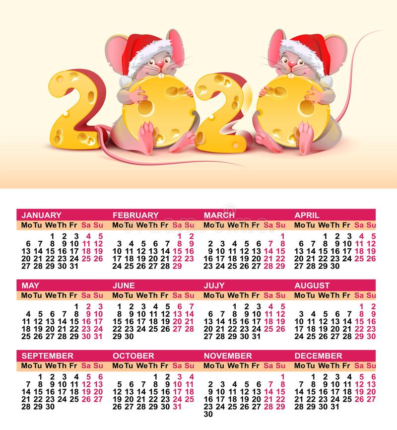 2020 year of mouse to Chinese calendar. Wall calendar grid template. Santa mouse holding swiss cheese royalty free illustration