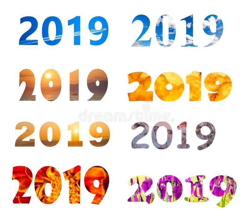 2019 year number with different fonts and backgrounds. Isolated on white vector illustration