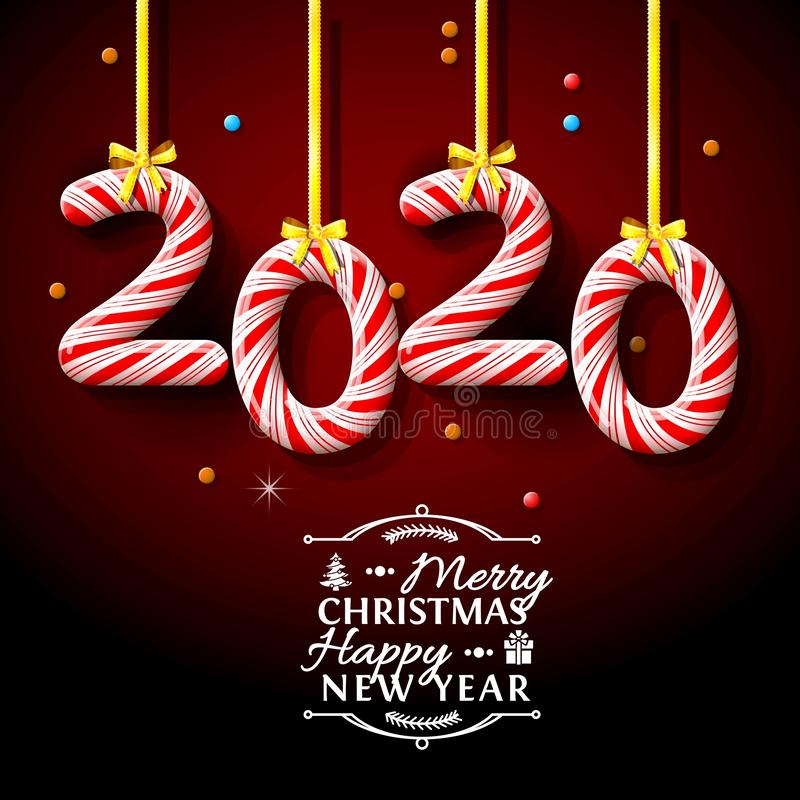 Merry Christmas Happy NEW Year 2020 greeting card stock illustration stock image