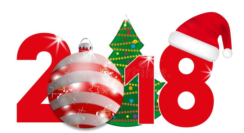 2018 year numbers with Christmas Tree and red ball and Santa hat on a white background. New year and Christmas elements for design vector illustration