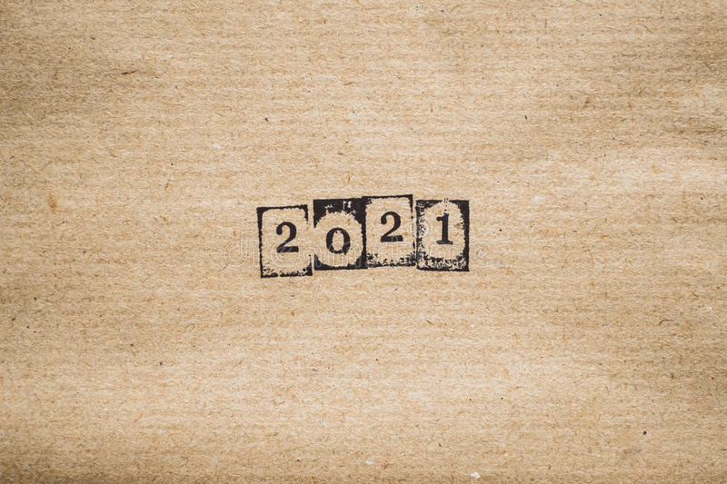 The year 2021 on plain paper royalty free stock photos